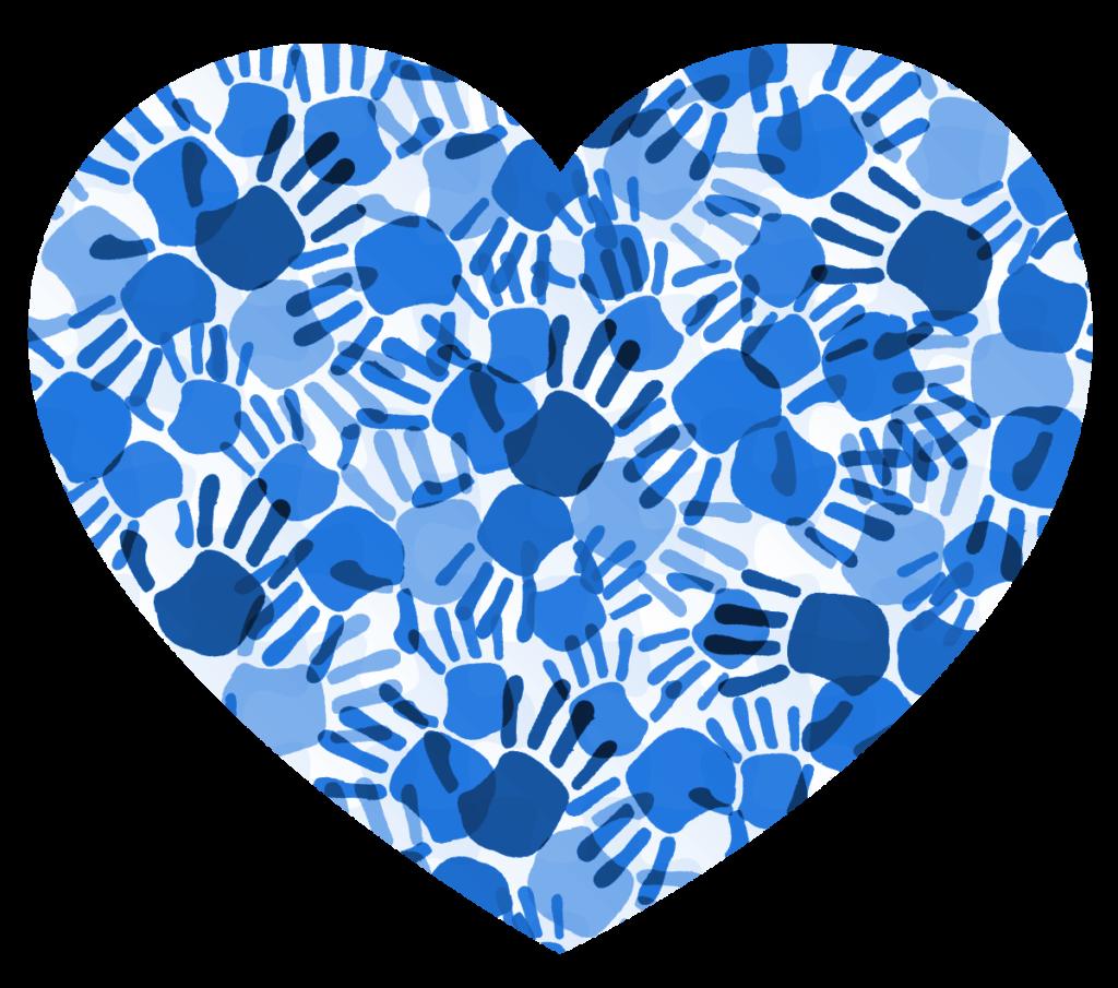 Obrazek przedstawiający niebieskie serce, stworzony z odcisków dłoni